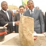 Les Présidents Faure Gnassingbé et Boni Yayi, à la pose de la première pierre des travaux.